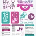 Convocatoria 3er. Medio Maratón Tecate. (18/09/2016)