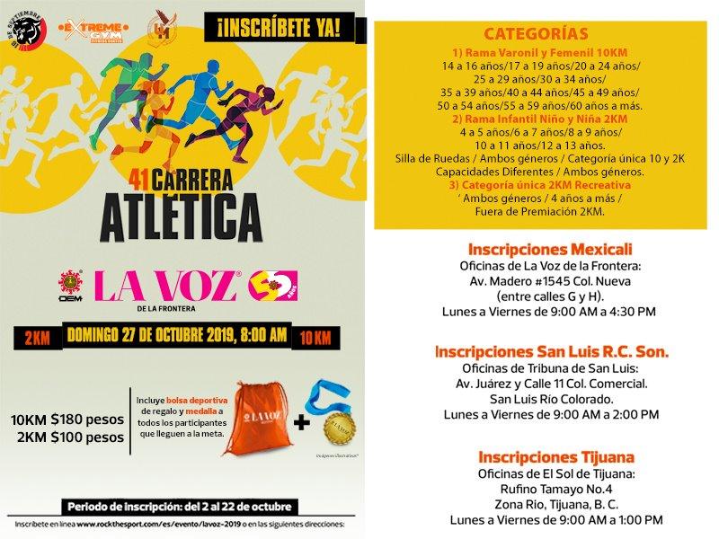 41 Carrera Atlética La Voz de la Frontera. (27/10/2019)